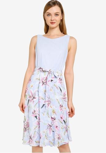 Dorothy Perkins blue Baby Blue Lily Floral Print Colour Block Midi Dress 11584AA6D1483FGS_1
