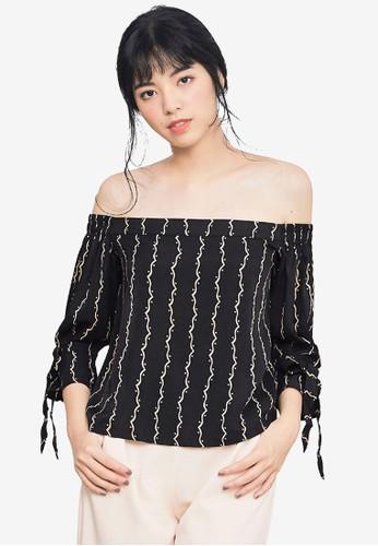 Kodz black Ribbon Sleeve Off Shoulder Top BE9D6AA726227EGS_1