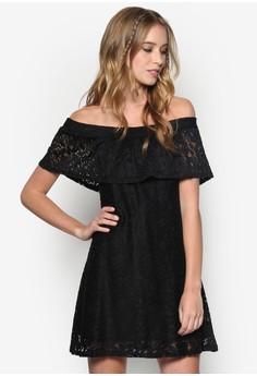 Lace Frill Bardot Dress