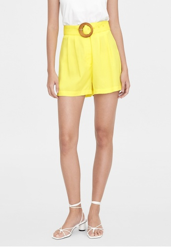 Pomelo yellow Purpose Buckle Belted Shorts - Yellow 28622AA761F883GS_1