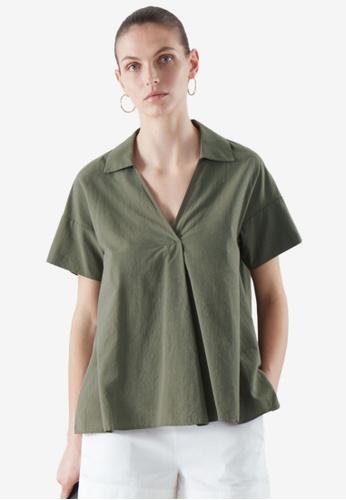 COS green Short-Sleeved Top With Pleat 1FEC4AA1778DE9GS_1
