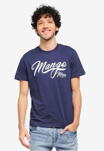 MANGO Man blue and navy Printed Cotton T-Shirt MA449AA0T1E1MY_1