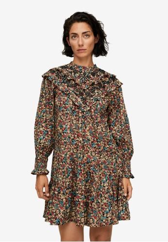 Mango brown Embroidered Printed Dress 67924AA42C31B0GS_1