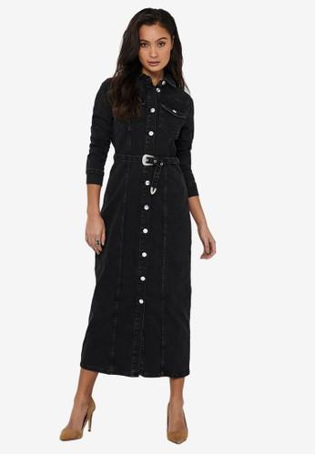 ONLY black Myth Life Belted Denim Maxi Dress 693C5AA62B4D59GS_1