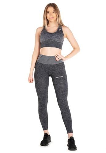 Famme Sportswear grey Famme Sportswear Charcoal Seamless Tights AF074AA67DCFE0GS_1