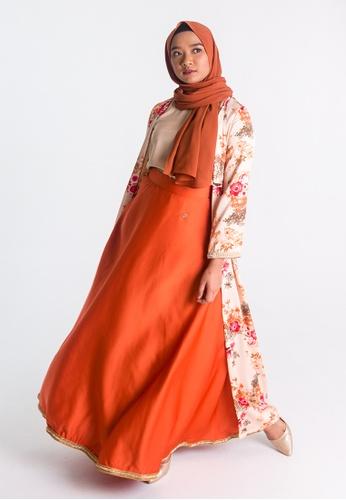 Zaryluq orange High Waist Maxi Skirt in Burnt Sienna F8852AADE6A012GS_1