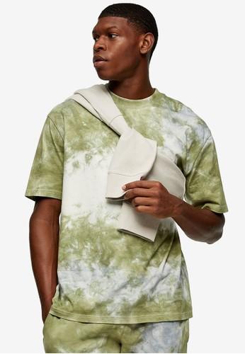 Topman multi Khaki and Ecru Tie Dye T-Shirt 91DE7AADE5EFA8GS_1