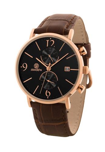Massa Collections black Generous Black Rose Chronograph Quartz Leather Watch 2B585AC3484B85GS_1