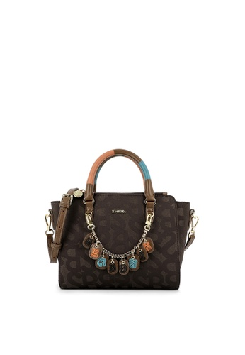 SEMBONIA brown SEMBONIA Jacquard Trimmed Leather Satchel Bag (Dark Brown) 5BEC6AC6924292GS_1