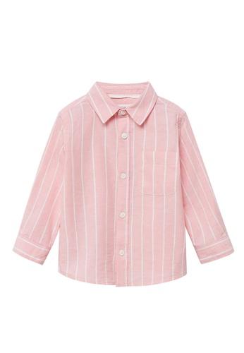 MANGO BABY pink Striped Cotton Linen Shirt 50A22KA593A1EAGS_1