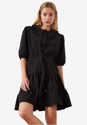 Trendyol black Frill Collar Detail Tiered Dress 777AFAA4252667GS_1