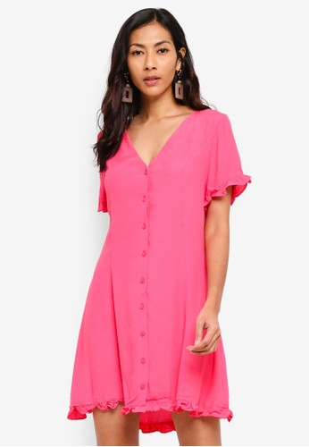 Glamorous pink Ruffled Button Mini Dress F0C3FAAE28BF67GS_1