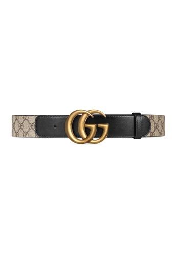 GUCCI beige Gucci Gg Double G Belt in Black AEE21ACF0BFFB7GS_1