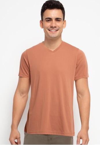 Tolliver brown V Neck Basic Short Sleeve Tee F6C3CAA296028BGS_1