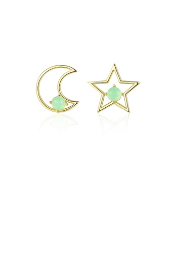 Glamorousky silver 925 Sterling Silver Plated Gold Simple Fashion Star Moon Asymmetric Stud Earrings D1DAFAC24E6EBAGS_1