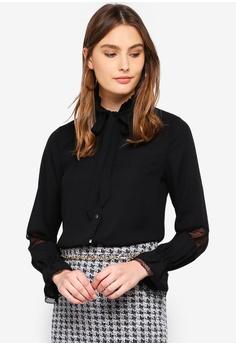 1a26c210a4a Dorothy Perkins black Black Mesh Pussybow Shirt 50B79AA0226564GS 1