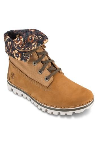 Besprit旗艦店rookton 反折靴口繫帶短靴, 女鞋, 鞋
