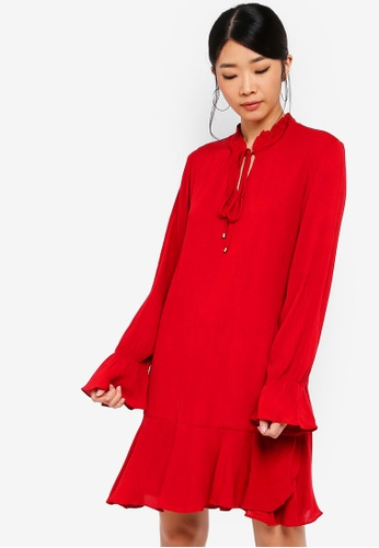Something Borrowed red Long Sleeves Fluted Hem Dress 77AB7AA55B5EA1GS_1