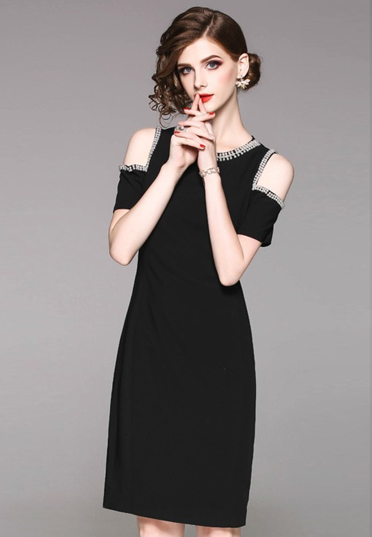 2018 CA071837BK Shoulder Open Chiffon Piece New One Black Sunnydaysweety Dress FwrqFCS