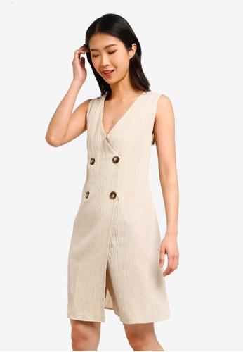 ZALORA BASICS beige Basic Double Breasted Dress 6D80FAA4004F3BGS_1
