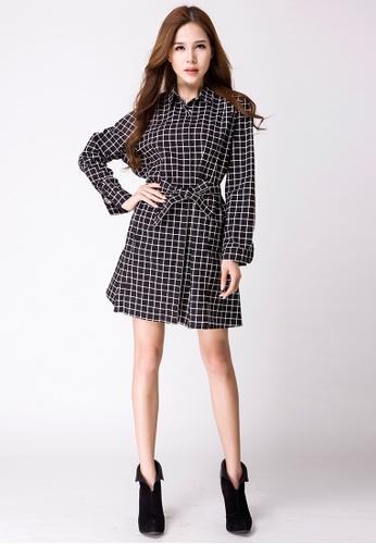 Les Premieres black Nicole Checker Shirt Dress 36901AA32D5116GS_1