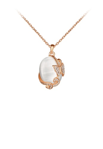 Glamorousky white Elegant Plated Rose Gold Butterfly Chrysoberyl Cat Eye Opal Pendant with Austrian Element Crystal and Necklace 7D8F7AC08B141BGS_1