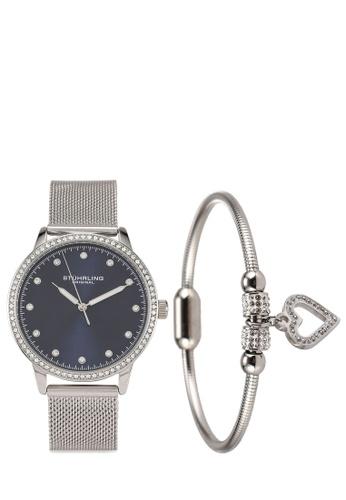 Stuhrling Original blue and silver Dorset 3904 Quartz Watch & Bracelet Set 292EAAC540EE07GS_1