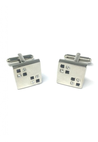 Splice Cufflinks silver Black and White Small Crystals Square Cufflinks SP744AC43FSASG_1