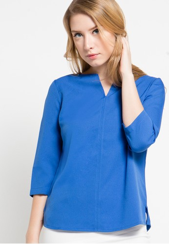 Raspberry blue Gracia Half Sleeve Blouse RA572AA12ALBID_1