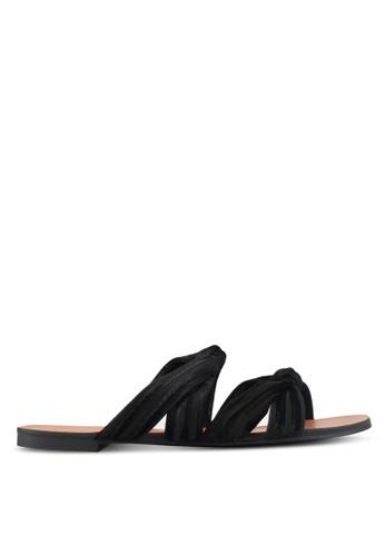 ZALORA black Velvet Knotted Sandals 2B1EFSH7E1DBE7GS_1