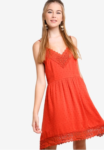 Something Borrowed red Camisole Lace Dress 7CBC4AA68895A5GS_1