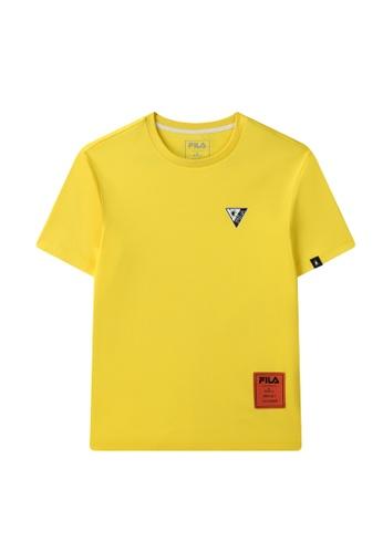 FILA yellow FILA x Maison MIHARA YASUHIRO Logo Dropped Shoulders Cotton T-shirt 50CE3AACB07215GS_1