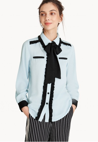 Pomelo blue Two Toned Contrast Bow Shirt - Blue F003BAA0D9E967GS_1