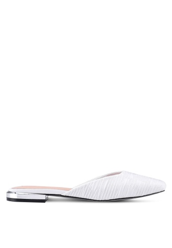 Nose white Satin Low Heel Slip-On Mule Pumps 2DB55SHB9CCBBCGS_1
