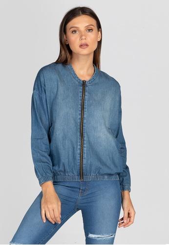 NEXT blue Pocketable Zip Up Denim Jacket E9143AA6B7F9A7GS_1