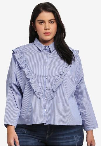 ELVI blue Plus Size Stripe Frill Shirt EL779AA0T1PZMY_1