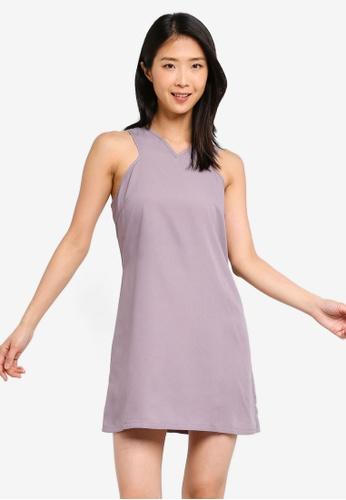 ZALORA BASICS grey Basic Cross Front Dress 668ABAA5C2C8BDGS_1