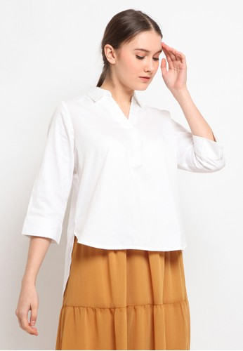 et cetera white 3/4 Sleeve Loose Blouse 6555FAAC16E113GS_1
