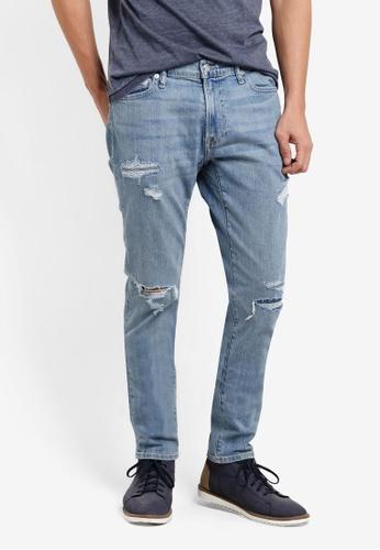 Abercrombie & Fitch 藍色 刷破窄管牛仔褲 AB423AA95IQIMY_1