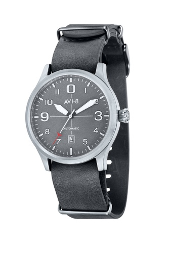 AVI-8 grey Flyboy Men's  Leather Nato Strap Watch AV642AC56JSHPH_1