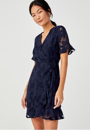 Love, Bonito navy Dani Textured Front Wrap Dress 2416AAA723F9AEGS_1