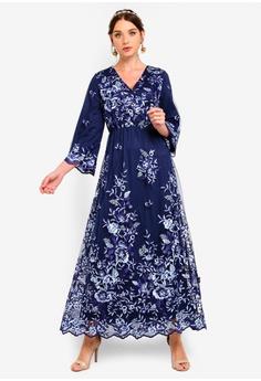 19f90aef04d Zalia blue Embroidered Lace Wrap Dress 1F915AA46DEB37GS 1