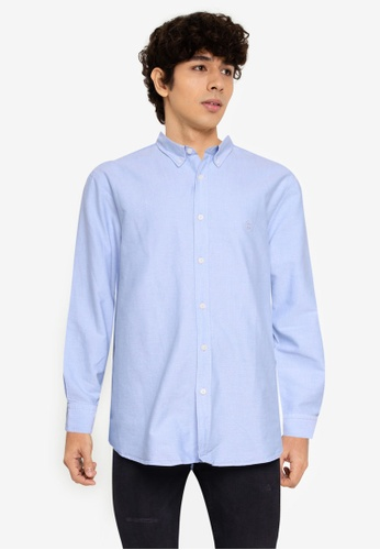Aeropostale blue Plain Oxford Shirt 4DD5AAAFEBF63CGS_1