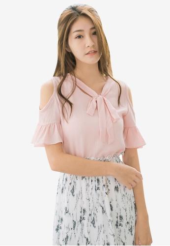 Tokichoi pink Open Shoulder Tie Neck Blouse 38578AA95F6778GS_1