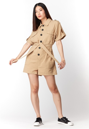 What To Wear Belted Denim Playsuit in Khaki B2ED2AA1BFCC0EGS_1