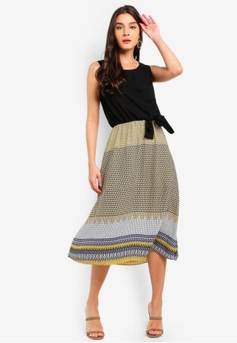 ZALORA black and multi Tie Detail Midi Dress 9D190AA48403D1GS_1