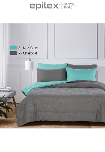 Epitex turquoise Epitex Homu HC8503 900TC Bedsheet - Fitted Sheet Set (Nile Blue) F3D8FHL57E6623GS_1