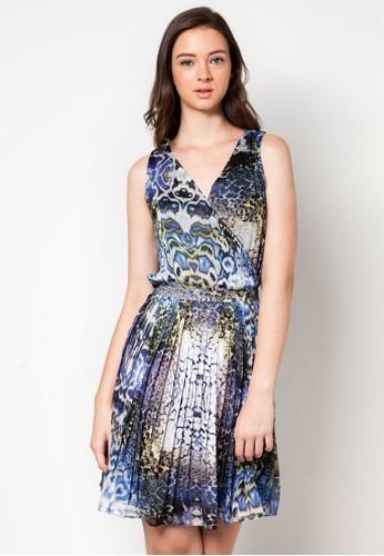 裹飾V 領印zalora 台灣門市花洋裝, 服飾, 洋裝