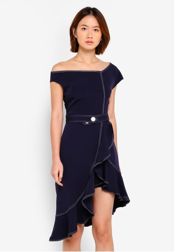 Haute Kelly navy Ho-Sook Ruffle Hem Dress A0274AABC1F297GS_1