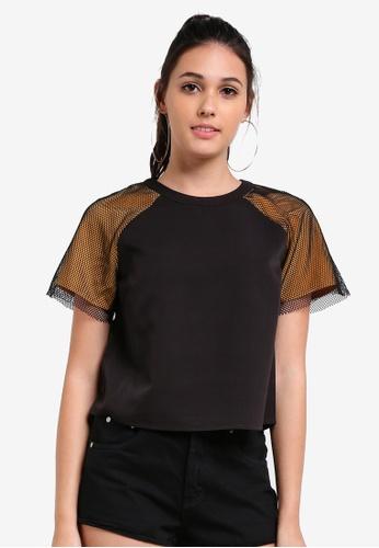 Something Borrowed black Paneled Sleeve Boxy Tee DA1C2AAB20C68BGS_1